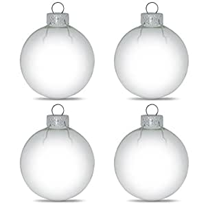 """3.15"""" Set of 4 Clear Glass Ball Christmas Ornaments"""