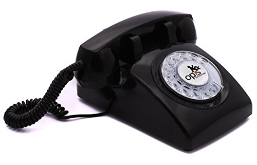 OPIS 60s CABLE: designer retro phone/rotary dial telephone/retro style phone/vintage telephone/classic desk phone with rotary dialler (black) by Opis Technology