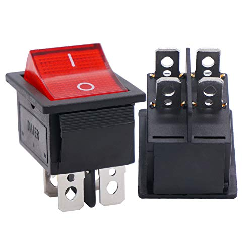 Twidec/2Pcs AC 20A/125V 15A/250V DPST 4 Pins 2 Position ON/Off Red LED Light Illuminated Boat Rocker Switch Toggle(Quality Assurance for 1 Years)KCD2-201N-R ()