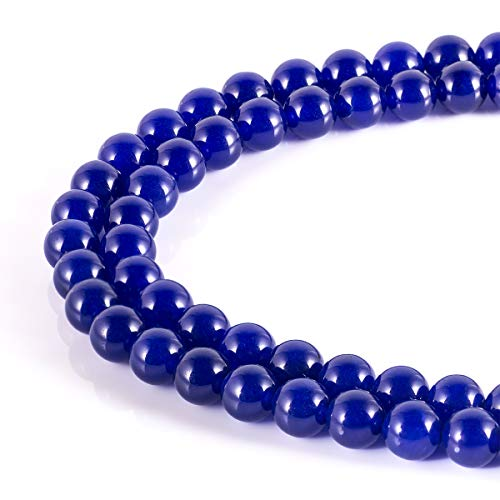 MOKYYus Blue Stone Beads, Blue 10mm Beads, Natural Blue Round Beads for Jewelry Making, DIY Gifts, Necklaces, Bracelets, Yoga - Blue Stone Beads