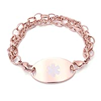 Medical Id Rose Gold Triple Stranded Bracelet With Tag (Diabetes Type 2)