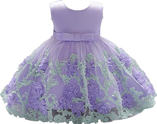 Little Baby Girl Dress Flower Ruffles Party Wedding Pageant Princess Purple -