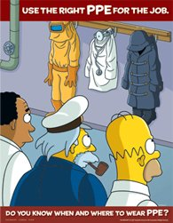 (Simpsons Personal Protective Equipment Safety Poster - Use The Right PPE For The Job)