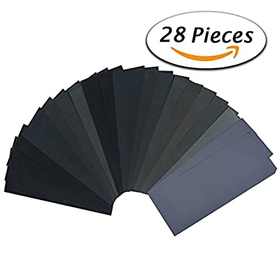 120 to 3000 Grit Assortment 9 3.6 Inches Wet Dry Abrasive Sandpaper Sheets for Automotive Sanding, Wood Furniture Finishing, Wood Turing Finishing