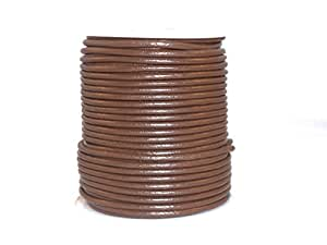 cords craft Round Leather Cord for Jewelry Cording and Crafts Genuine Leather 2.0MM 32 Tan Brown