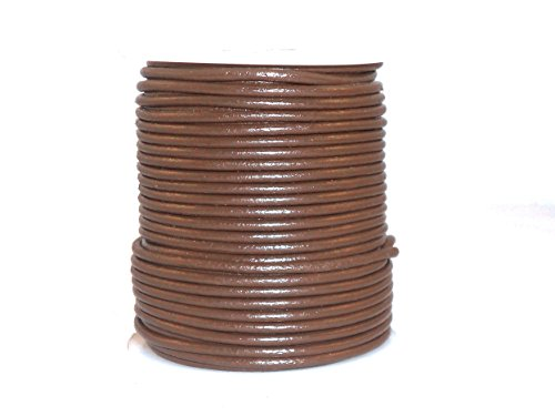 cords craft Round Leather Cord for Jewelry Cording and Crafts Genuine Leather 2.0MM 32 Tan ()