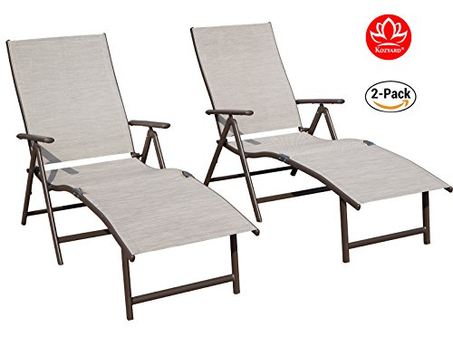 Kozyard Cozy Aluminum Beach Yard Pool Folding Reclining Adjustable Chaise Lounge Chair (Beige,2 Packs)