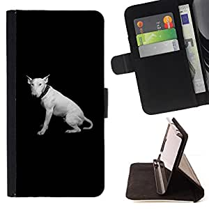 Bull Terrier Miniature Black Minimalist - Painting Art Smile Face Style Design PU Leather Flip Stand Case Cover FOR Samsung Galaxy Core Prime @ The Smurfs