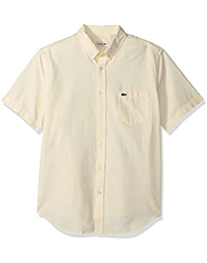 Men's Short Sleeve Fit Button Down Oxford Solid Woven Shirt