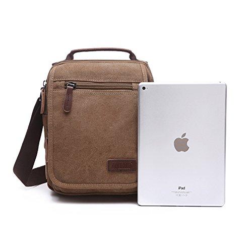 Outreo Hombre Bolso Bandolera Vintage Bolsos Originales Messenger Bag Bolsos de Tela Bolsas de Viaje para Colegio Bolsa Escolares Libro Tablet Handbag Marr¨®n