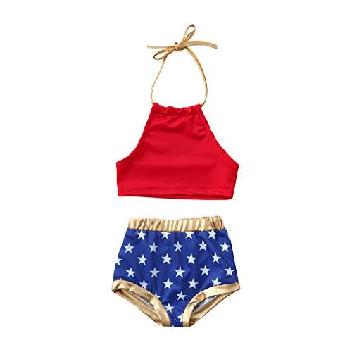Baby Girls Swimwear Infant Toddler Girls Star Straps One Piece Swimsuit Bikini Set Beach (Age: 6-12 Months, Red)