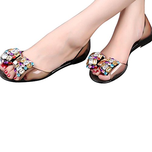 Geachte Tijd Dames Zomer Strik Peep Toe Kristal Platte Sandalen Zwart