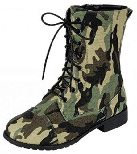 Forever Link Womens Round Toe Military Lace up Knit Ankle Cuff Low Heel Combat Boots, Camouflage, 8.5 for $<!--$9.99-->