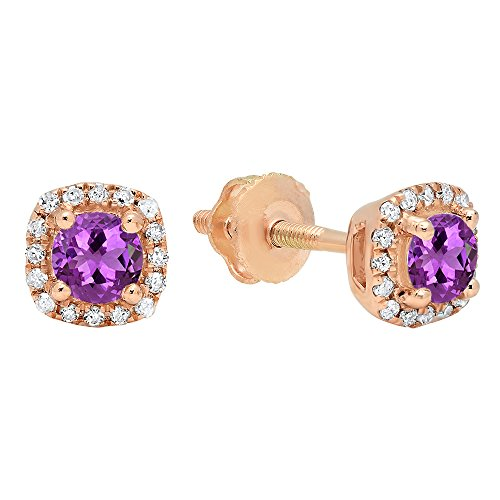 Dazzlingrock Collection 10K 3.5 MM Each Round Amethyst & White Diamond Ladies Halo Style Stud Earrings, Rose Gold
