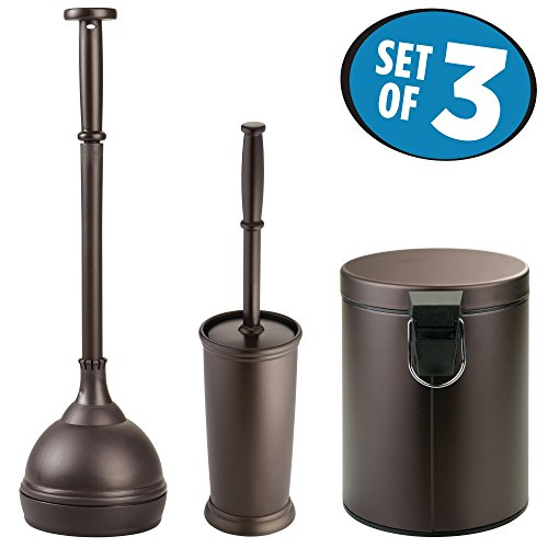 mDesign Plunger Bowl Brush, Step Trash Can and Toilet Brush Bathroom Accessory - Set of 3, Bronze by mDesign
