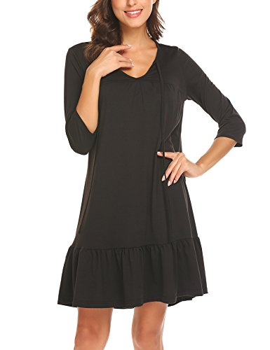 Women's Swing Dress A Empire Neck Line Dresses Babydoll Waist BURLADY V Tunic Black Spring dq7xwwaTP