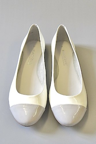 e50b6883c100 MARCO TOZZI - Womens White Patent Ballerina Flat Pumps w Grey Pointed Toe  Cap -