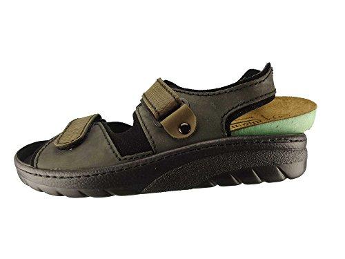 Algemare Herren Sandalette Teer Nubukleder Algen-Kork Wechselfußbett 7741_0341 Trekking Sandale, Größe:47