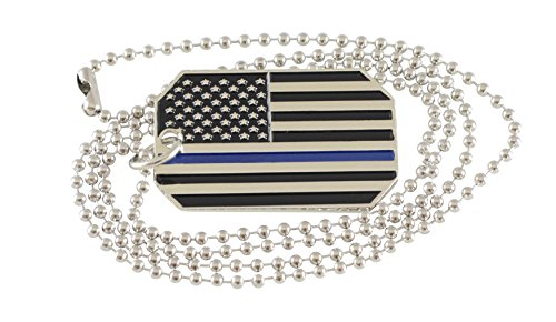 Forge Thin Blue/Red Line Police/Firefighter Awareness Dog Tag American Flag Necklaces (Thin Blue Line Dog Tag) ()