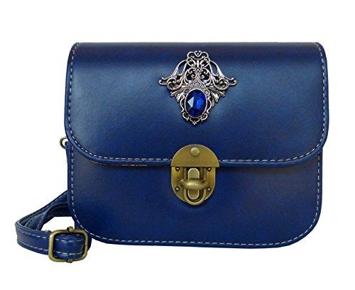 Trachtentasche Umhängetasche fürs Dirndl im Vintage Design - Antikstil Applikation (Blau (Ornament))