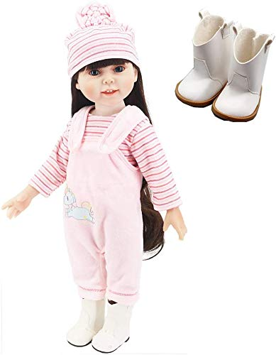 yamaso Doll Clothes Outfits Doll Accessories Hooded Jumpsuit for 18 Inch Dolls (Pink)