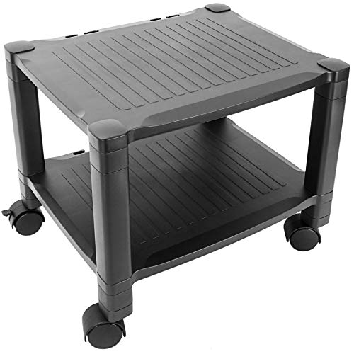 (PrimeMatik Trolley Printer Side Table with Cable Grommet Wheels (AG061))