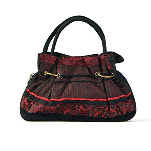 Girl BISSER Fille Bisser Sac marée Sacs à Main Authentique Style Ethnique Sac à Main pour Femme Sac à bandoulière noir/rouge