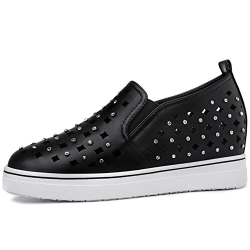 U MAC Sneakers Women Slip Anti Black Hole Toe Round Inside Increased Chic Vamp Shoes rr0d8q