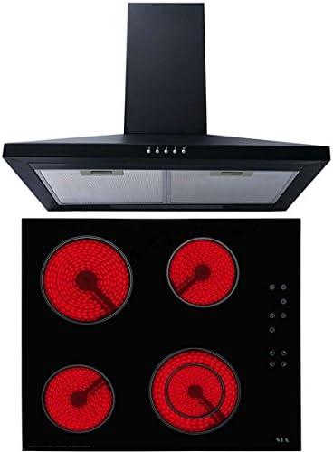 Sia 60 cm Vitrocerámica de zona doble + 60 cm negro chimenea campana extractor ventilador: Amazon.es: Grandes electrodomésticos