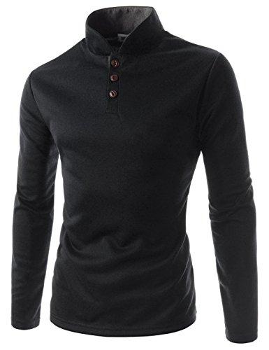 (JTL29) Mens Slim Fit Casual Henley Neck China Collar Long Sleeve Jersey Shirts BLACK Large(US Medium)