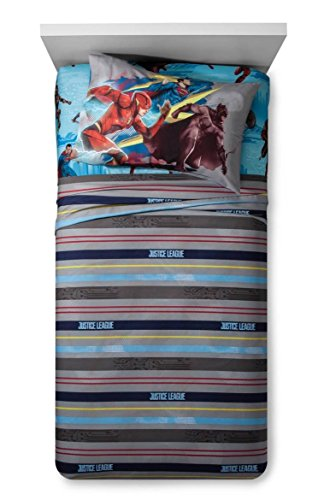 DC Comics Justice League Twin Sheet Set- Superman, Batman, Flash (Set Bats Super)