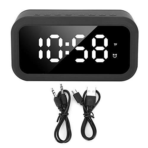 HERCHR Wekker Radio met Bluetooth Speaker & USB, Oplaadbare LED Stereo Speler Digitale Klok voor Slaapkamer