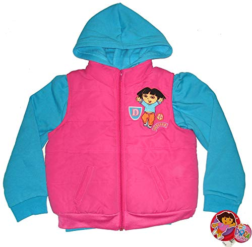 Dora the Explorer ~Girls Hoodie & Puffer Vest Jacket~ SZ ()
