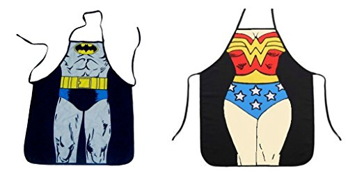 DC Comics Justice League Batman and Wonder Woman Superhero Character Child (Youth, Petite) Apron Set