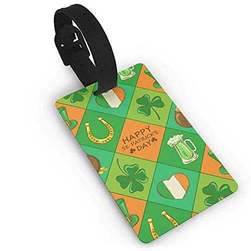 NOAID St. Patrick's Day Irish Shamrock Pattern PVC Baggage Suitcase Tag Name Address ID Label Travel Luggage Tag ID Identification Labels ()