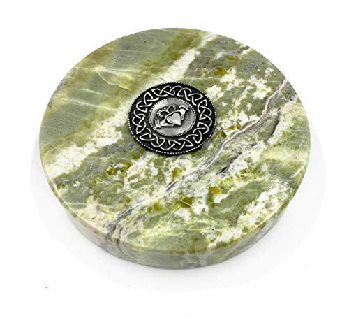 Irish Claddagh Medallion on Connemara Marble Paperweight