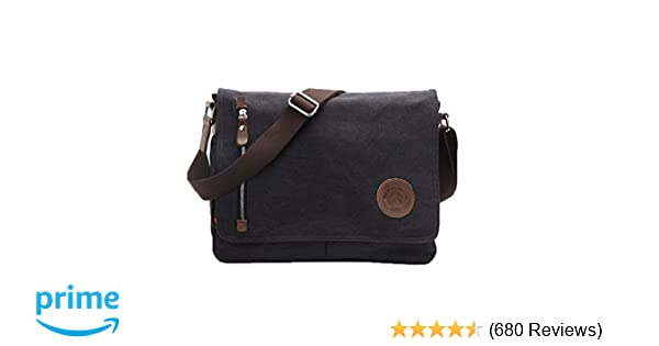 5974035a56 Amazon.com  Egoelife LB-BBPHF18 Unisex Casual High Quality Canvas Satchel Messenger  Bag for Traveling Camping - Black  Computers   Accessories