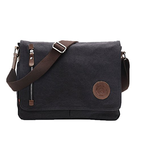 Egoelife  LB-BBPHF18  Unisex Casual High Quality Canvas Satchel Messenger Bag for Traveling Camping - Black