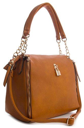 metallo Medium in catena effetto Big Orange Handbag Lock tracolla Lock Shop Womens e Zip a O8zpOq