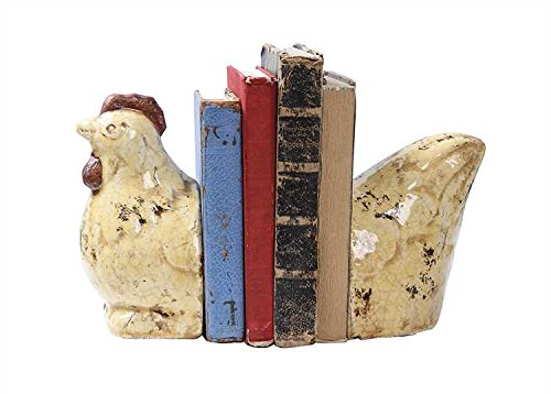 Terra Cotta Rooster Bookends Distressed Finish Set OF 2 Pieces