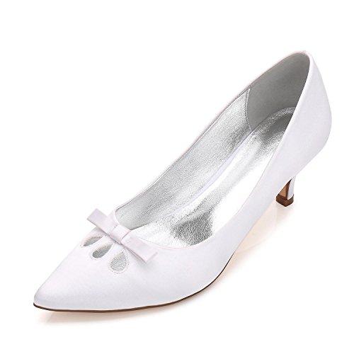 Mariage Fermé Femmes Toe L Low Hauts Mid Bow Talons Court Stiletto Blanc Chaussures Mariée yc Boucle Kitten De FqE5Z