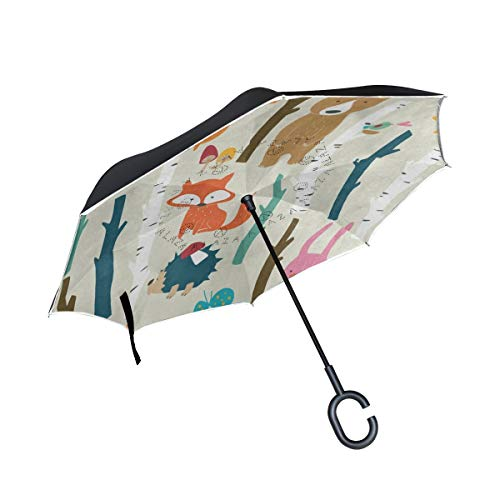 All agree Reverse Umbrella Forest Fox Bear Mushroom Hedgehog Rabbit Inverted Umbrella Reversible for Golf Car Travel Rain Outdoor Black