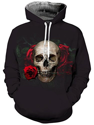 Belovecol Men Women 3D Hoodie Rose Skull Hooded Sweatshirt Cool Pullover With Pockets Black L (Fleece Print Hoody)