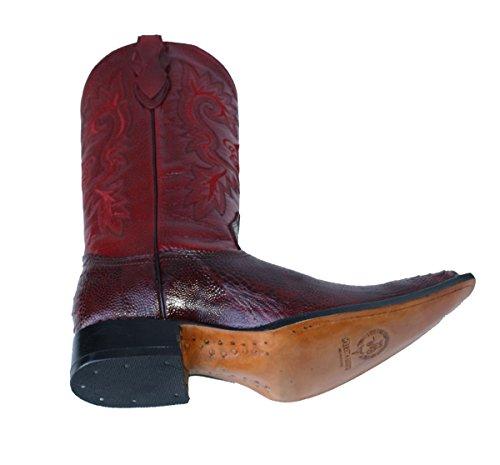 Dona Michi Cowboy Äkta Läder Struts Ben Print Cowboy Handgjorda Lyxiga Stövlar Vinrött