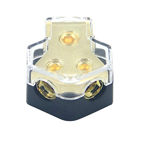 ZOOKOTO 0/2/4 Gauge in 4/8/10 Gauge Out Amp Power Distribution Block Car Audio Splitter 2 Way Outputs Power Distributor Block Fuse Holder ()