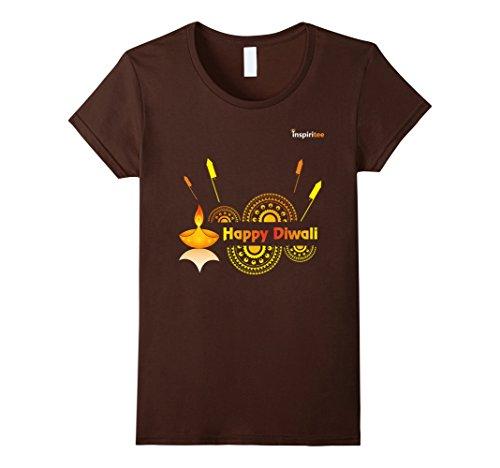 Womens Inspiritee - Happy Diwali - T Shirt 3 XL Brown by Inspiritee