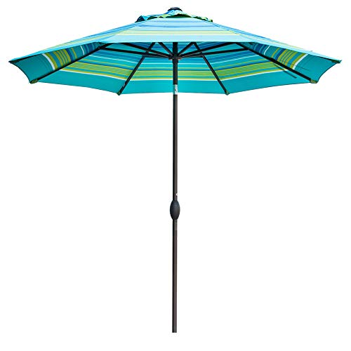 Abba Patio Outdoor 9-Feet Table Umbrella with Auto Tilt and Crank, Turquoise -