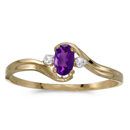 10k Yellow Gold Oval Amethyst And Diamond Ring (Size 5.5) -