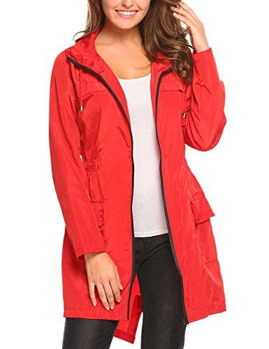 Deportes Capucha S HOTOUCH Ideal Libre Abrigos Chaqueta Mujer Impermeables Rojo con al para XXL Aire Chubasquero Asimetrica qvfgqc0w