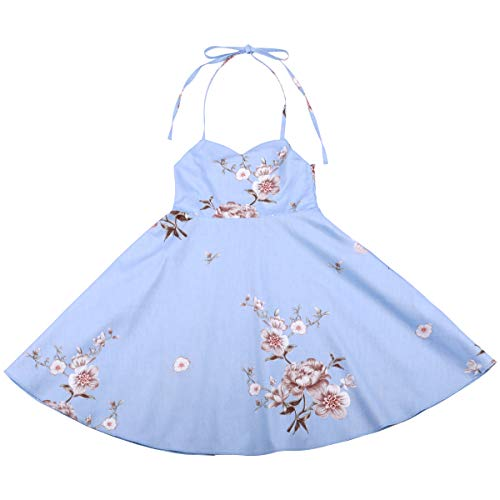 Flofallzique Floral Dress for Girls Easter Spring Darling Dress for Kids(8,Light Blue)